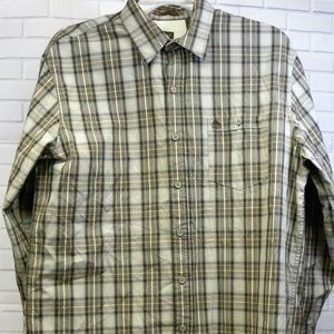 Timberland Brown Plaid Button Front Shirt Size Lg